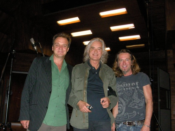 Guy Pratt, Jimmy Page and Geoff Dugmore at Olympic Studios