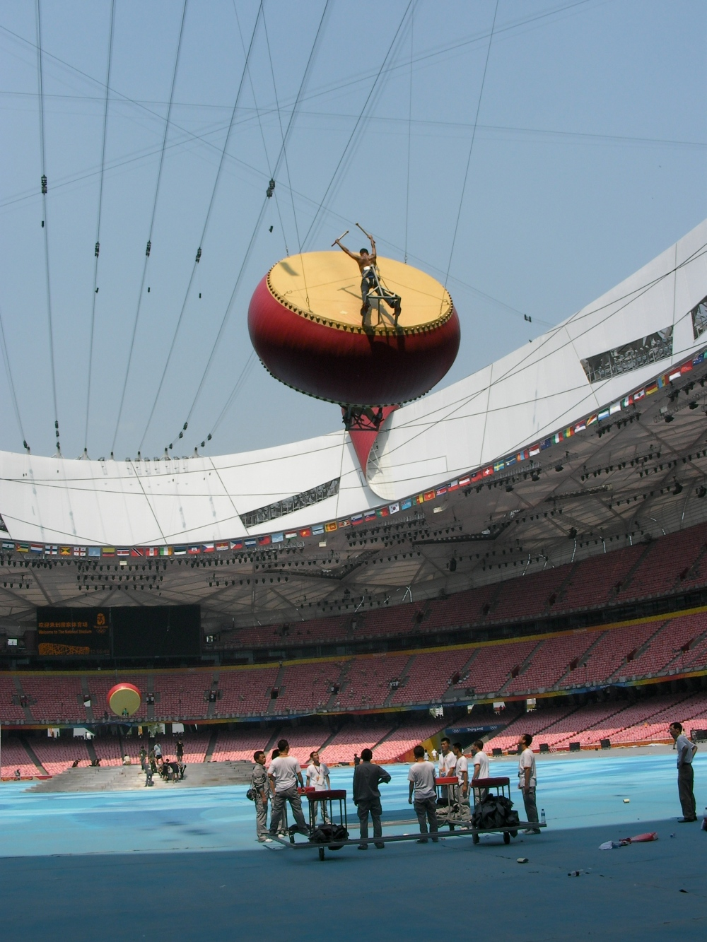 Rehearsals for the closing ceremomny of the 2008 Beijing games