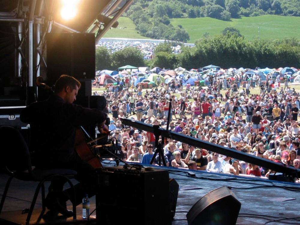 Playing at Glastonbury